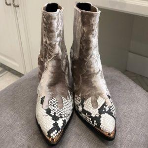 Velvet Snakeskin Cowboy Boots
